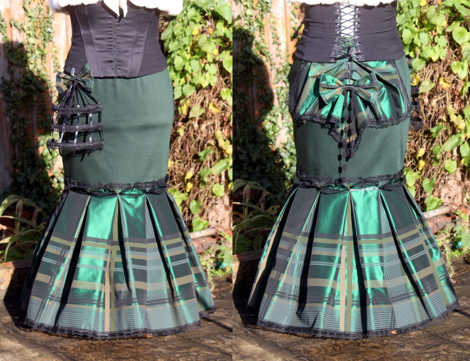 Victorian / Steampunk  Long Green Skirt size 16-18-20 fishtail bustle tartan checked skirt birds cage - handmadebyreplay