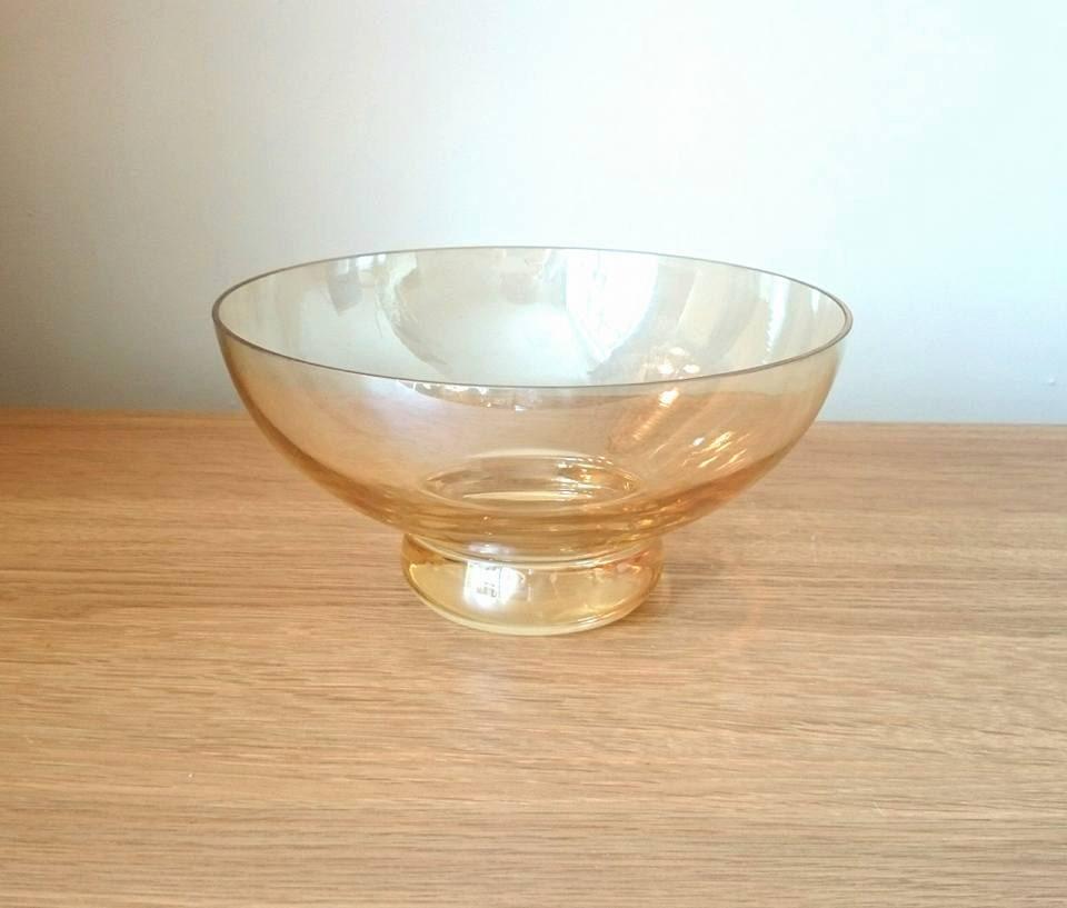 Vintage Bowl Dish Orange Glass tinted Amber Fruit Bowl Reflective Glass Shiny Glass Vintage Bowl Vintage Fruit Dish