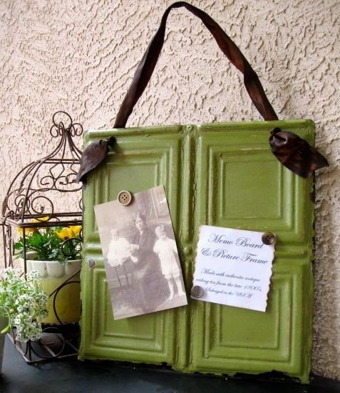 GRANNY SMITH Antique Ceiling Tin Magnetic Memo Board / Picture Frame
