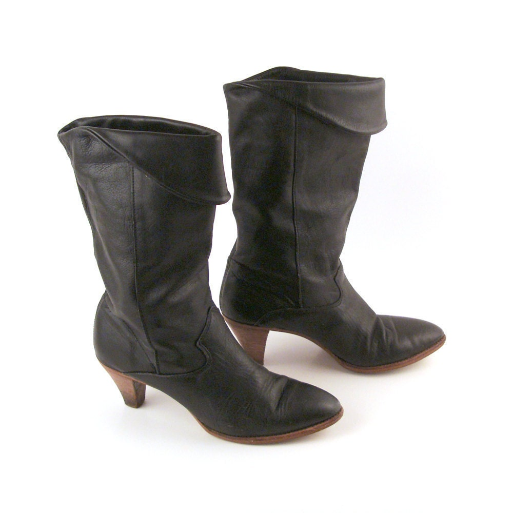 vintage 1980s black leather slouch boots by