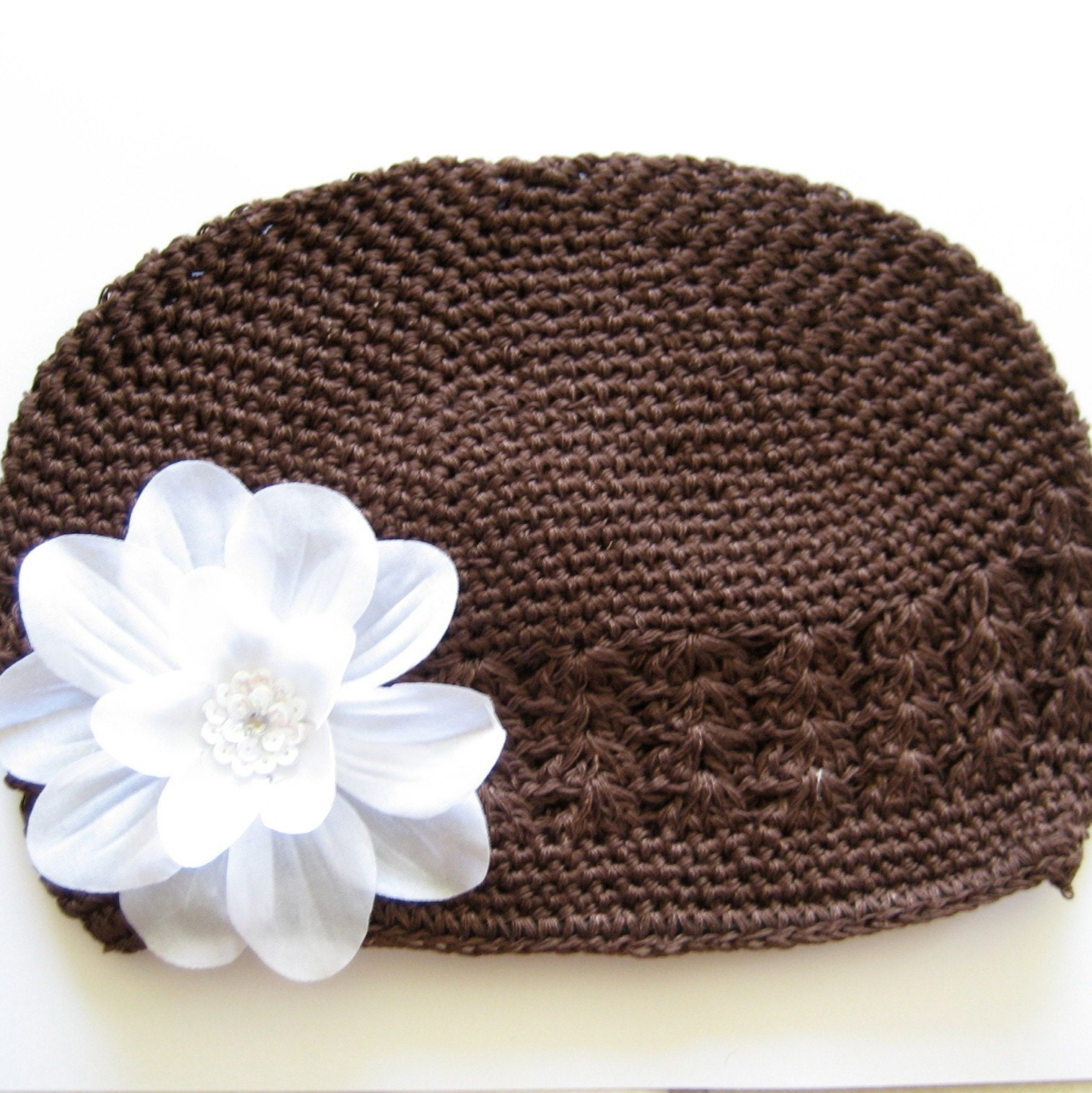 Beautiful Brown beanie Hat with White Sequin Flower -  Babies and Infants
