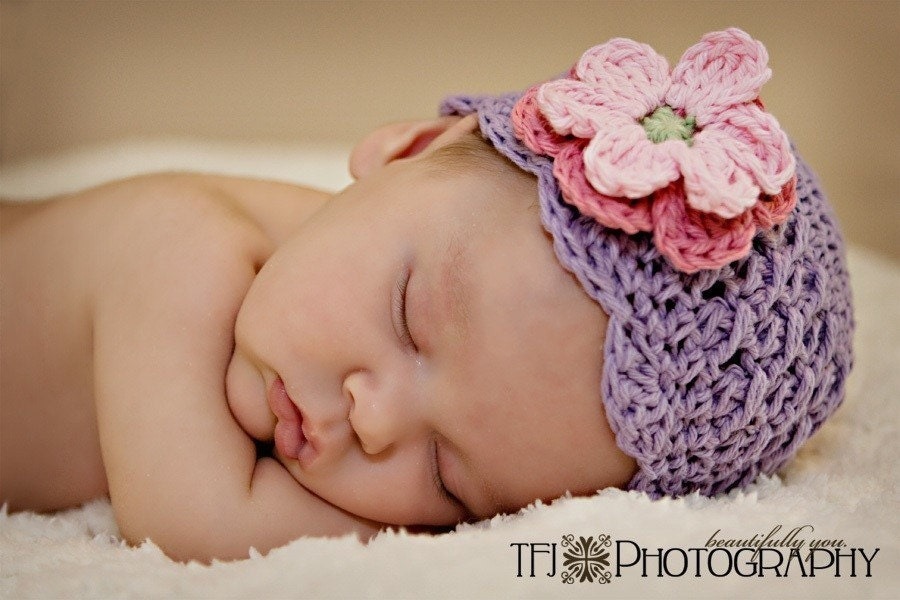 6-12 month Shell Beanie with Flowers -lt grape, rose, pink, celery