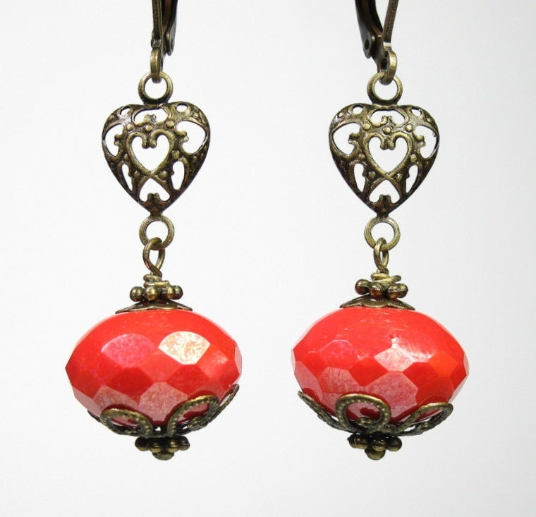 Coral Shimmer Czech Glass Vintage Style Earrings
