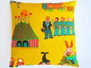 Vintage 60s 70s Beatles fabric cushion pillow pop art fun