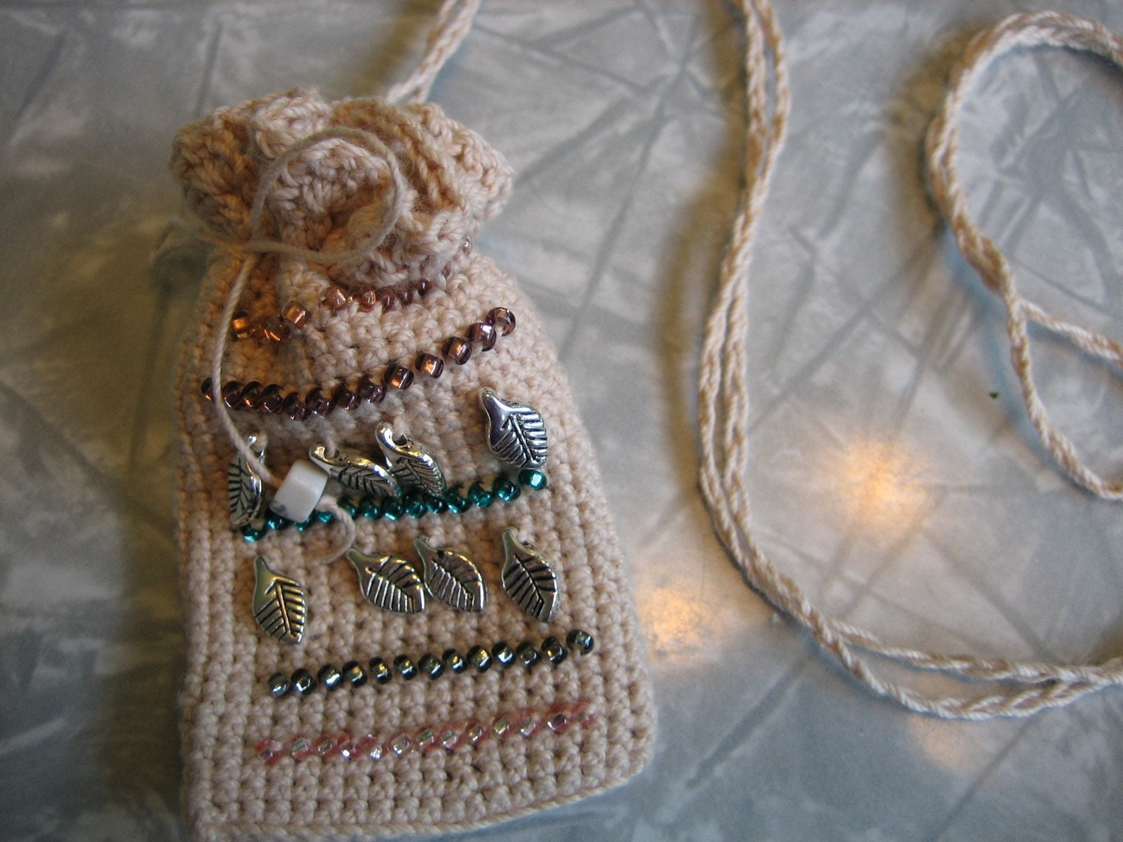 crocheted amulet bag buttons twine a for craft