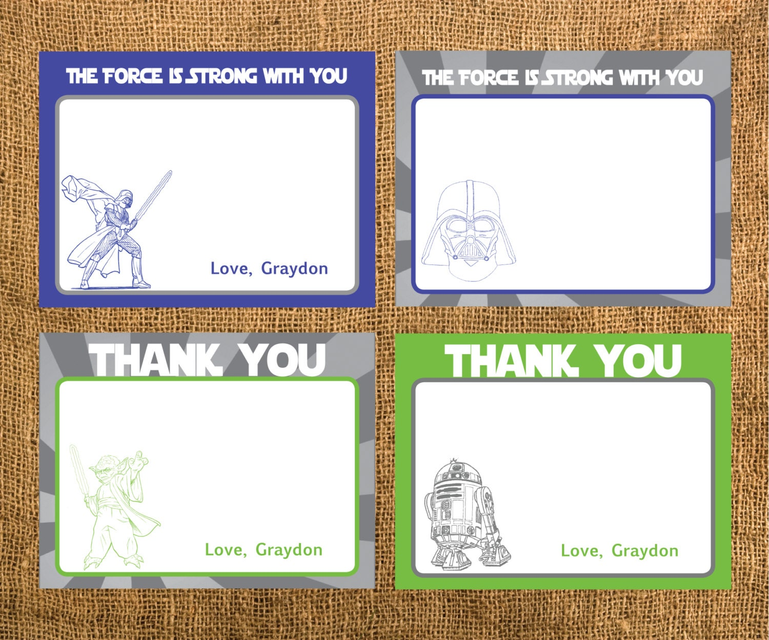 Star Wars Birthday Thank You Cards by GraysGraphicDesigns on Etsy
