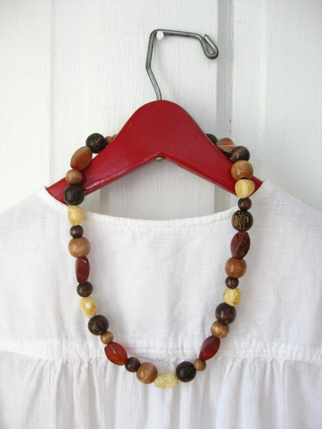 Red Stone and Wood Beaded Necklace