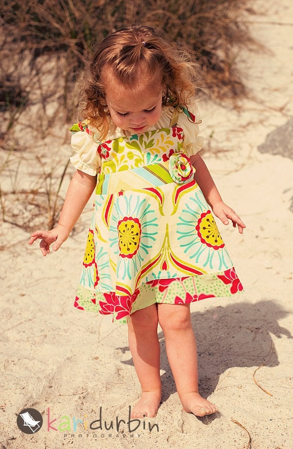 Summer Dress and Peasant Shirt - Pop Garden- The Penelope Dress and Sophia Peasant Top
