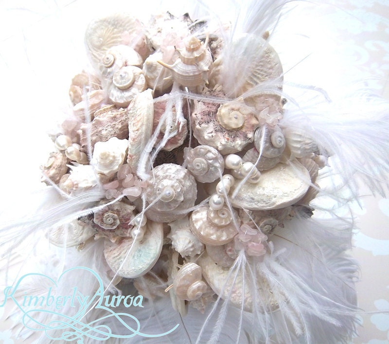 Made to Order Custom Details Bridal Bouquet of Shells (Blushing Island Style). DEPOSIT