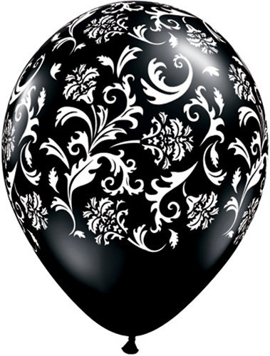 3 damask latex balloons black and white damask balloon for Decoration mariage noir et blanc
