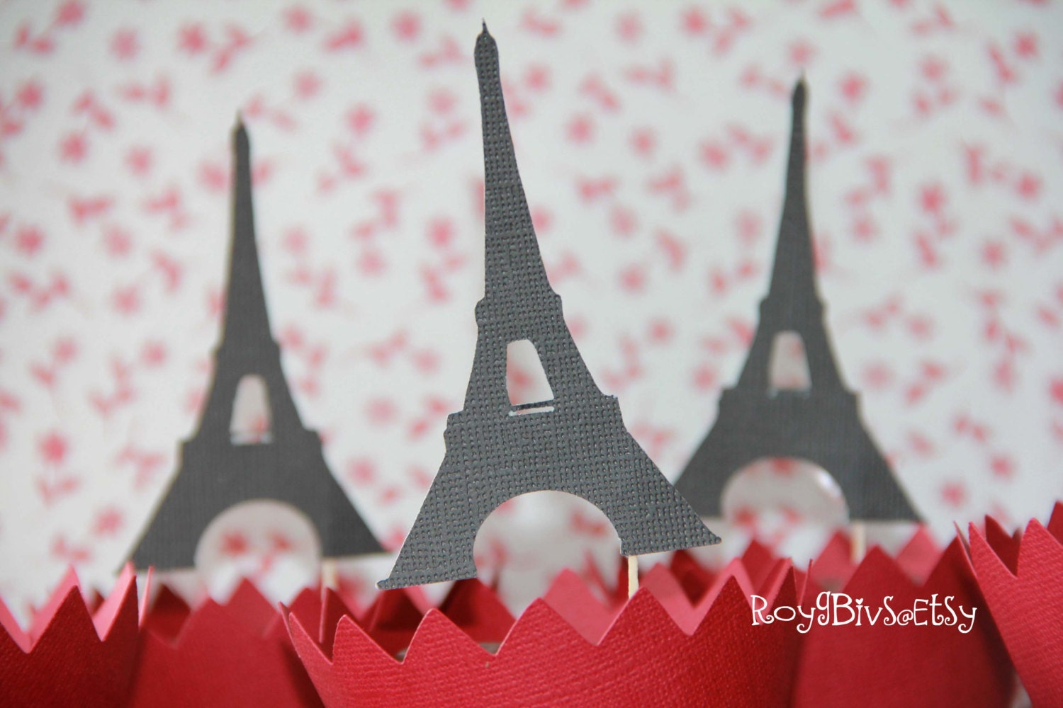 eiffel tower cupcake toppers by roygbivs on etsy