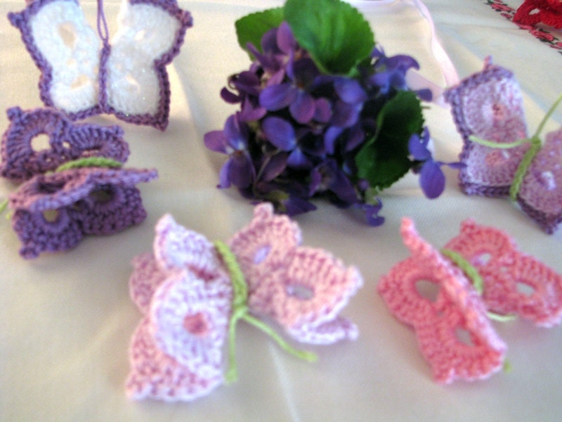 Butterflies lavander, lilac, pink, mint , green, turquoise, yellow, red, blue, blue... - set of  ten