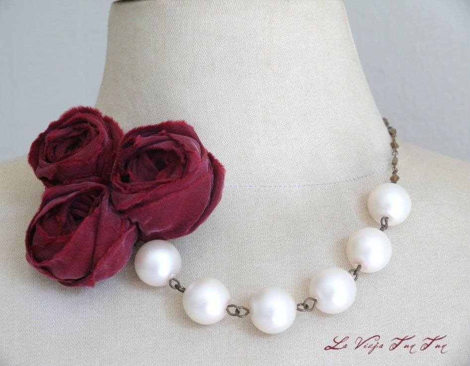SALE--Roses and Pearls/ Statement Necklace