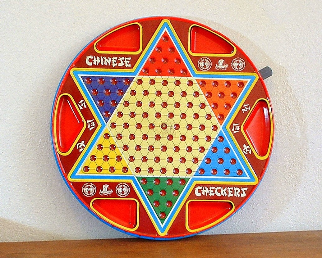 Vintage Chinese and Regular Checker Metal Game Board