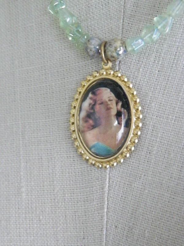 Sea Green Glass Beaded Necklace with Rita Hayworth Pendant