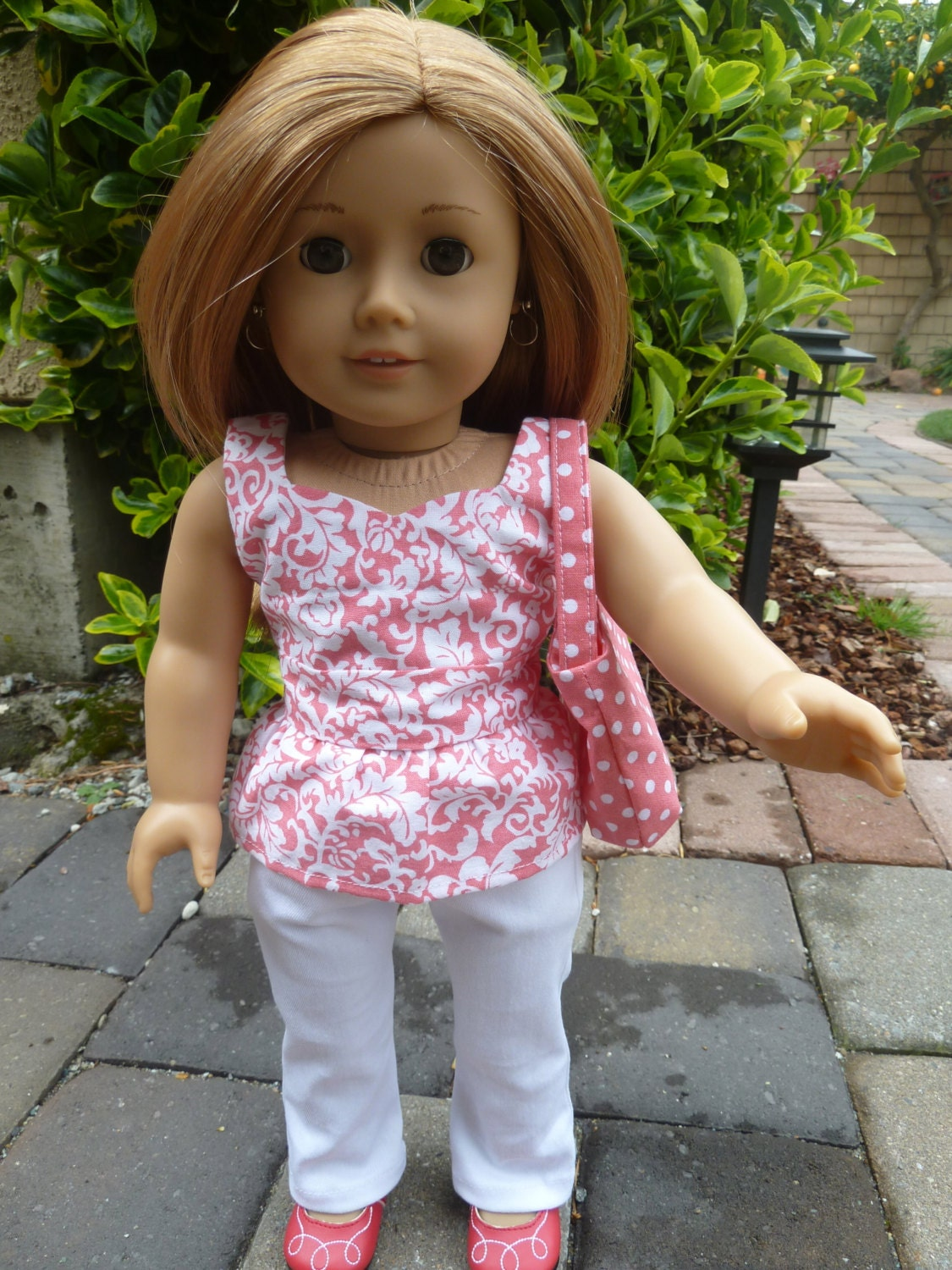 American Girl Doll Clothes - Polka Dots and Swirls, Too 3 piece outfit includes jeans, peplum top and purse
