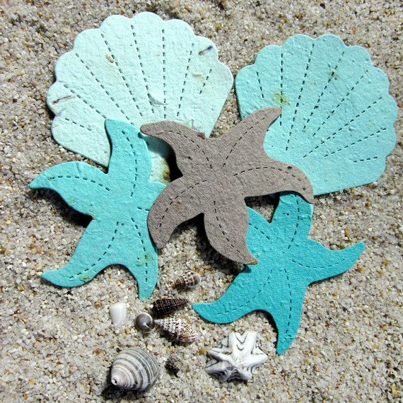 100 Plantable Wedding Favor Starfish And Shell By Recycledideas