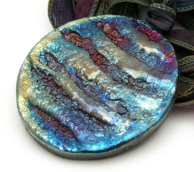 Bronze Purple Blue Trench Raku Pendant Raku Ceramic Jewelry Handmade by MAKUstudio