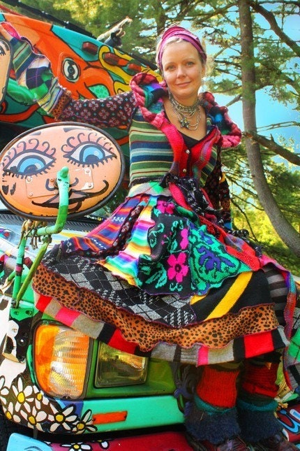 RESERVED FOR JOLENE -Super crazy applique butterfly crazyquilt bohemian Long Elf Coat made from recycled sweaters