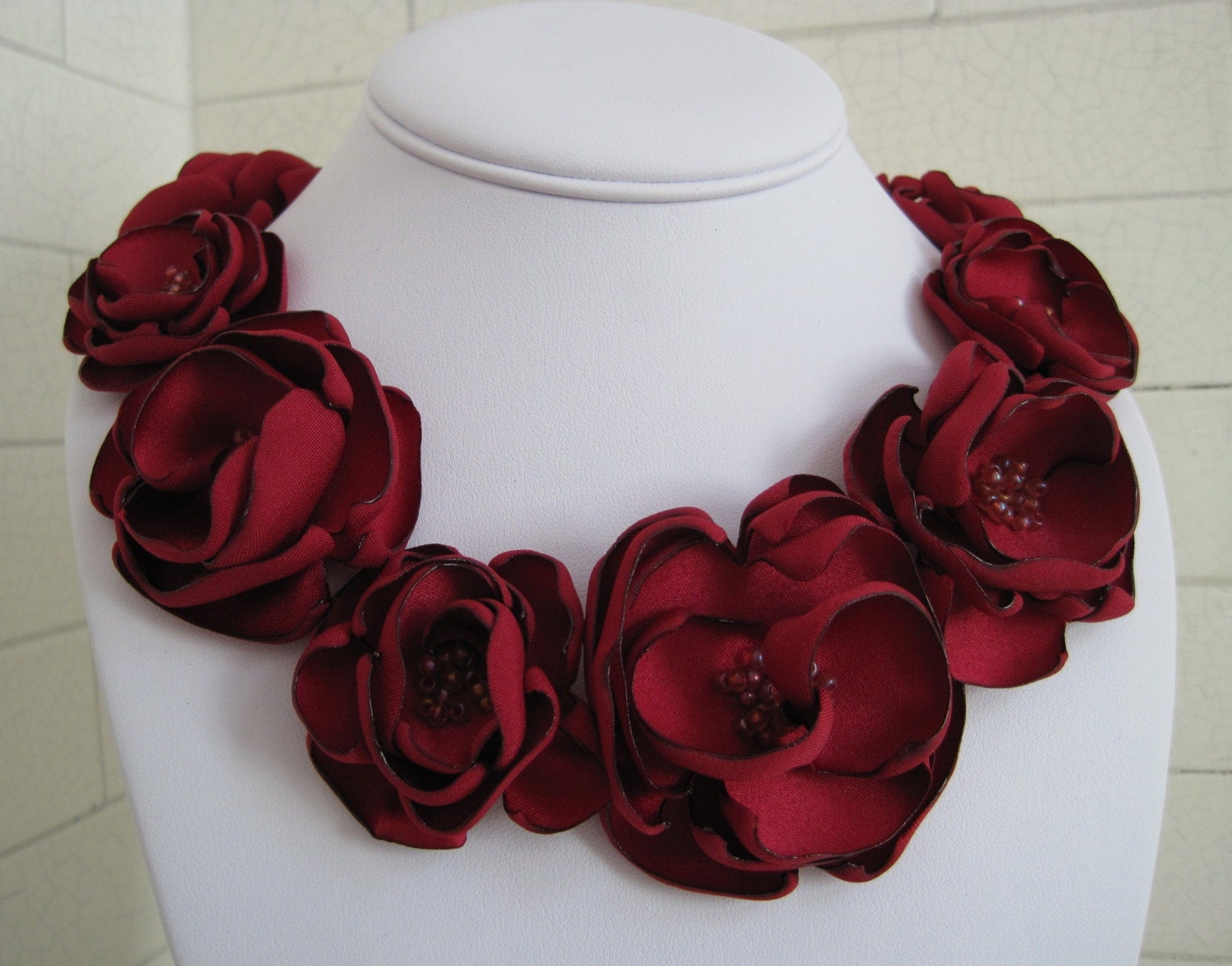 made to order - PAMELA  - scarlet red satin and czech glass bead fabric flower necklace with ribbon tie
