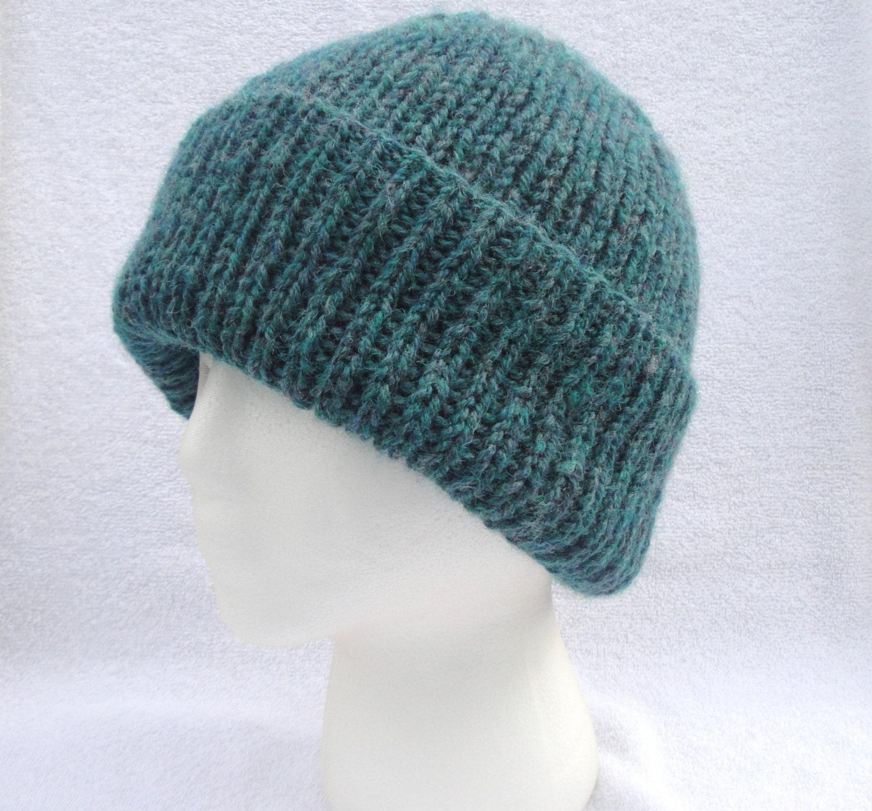 Mens Deep Green Hat, Hand Knit Wool Blend, Beanie Watch Cap, Warm, Boys - Girlpower