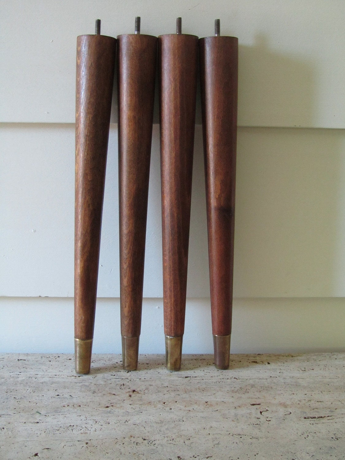 Excellent Leg Daddy 5 12quot Walnut Tapered Pyramid Wood Sofa Legs