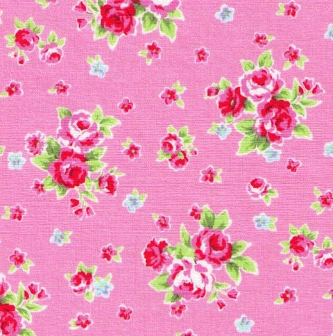 ONE YARD - LECIEN - Flower Sugar Small Flower Bouquet with Red and Blue Flowers - Pink Background - Japanese Import Fabric