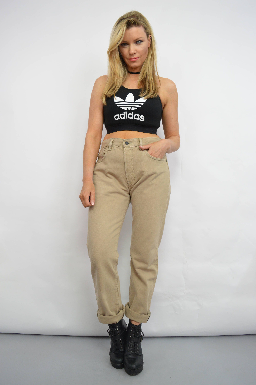 Vintage 90s Levis Beige High Waist Denim Jeans Button Fly Pants Button Fly Mom Boyfriend Slouchy Grunge Hipster Retro Large