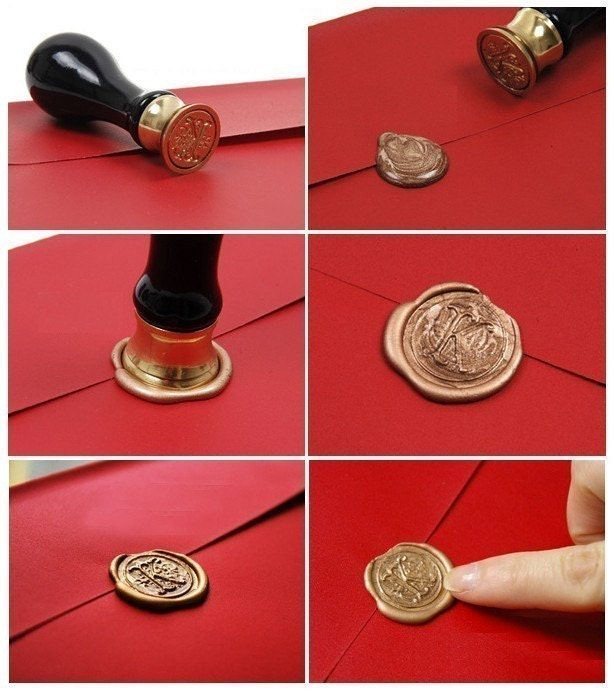 Red wax with Initial Seal Stamper Set