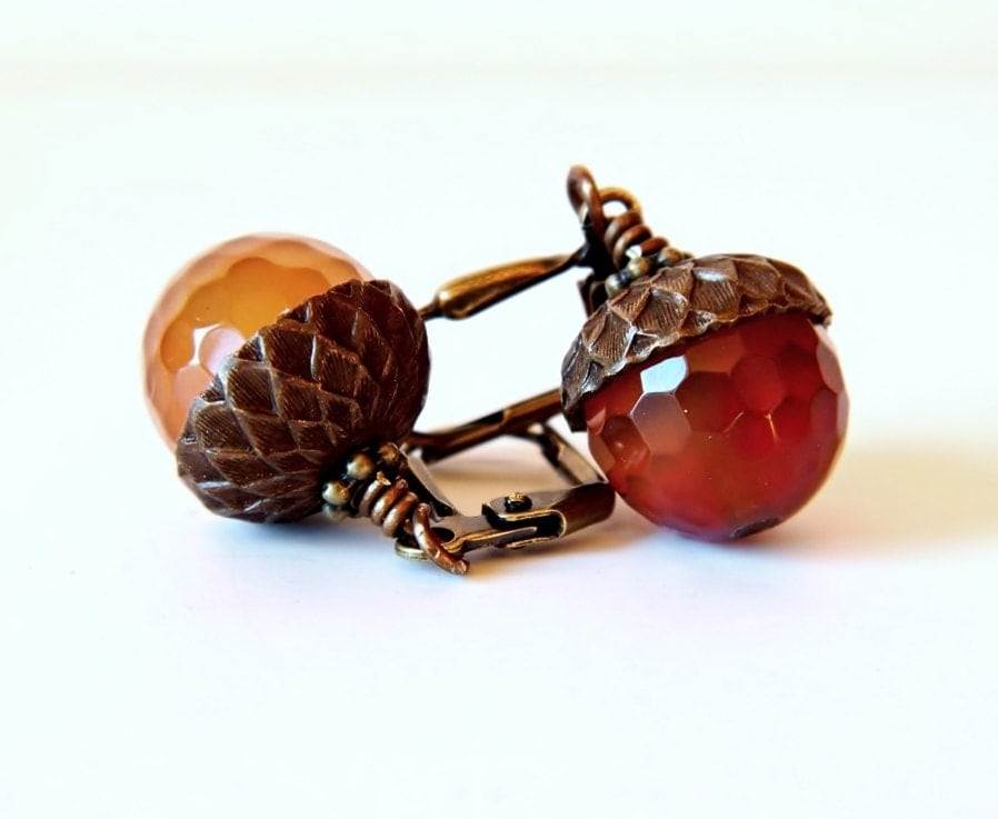Carnelian Acorn Earrings Orange Amber Antique Brass Gemstone Jewelry Bridal Wedding OOAK  Fall Fashion Autumn - MsBsDesigns