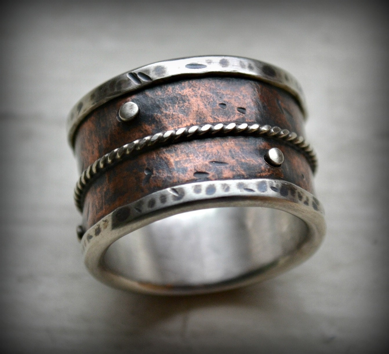 mens wide band wedding ring rustic fine silver by maggidesigns With mens wide band wedding rings