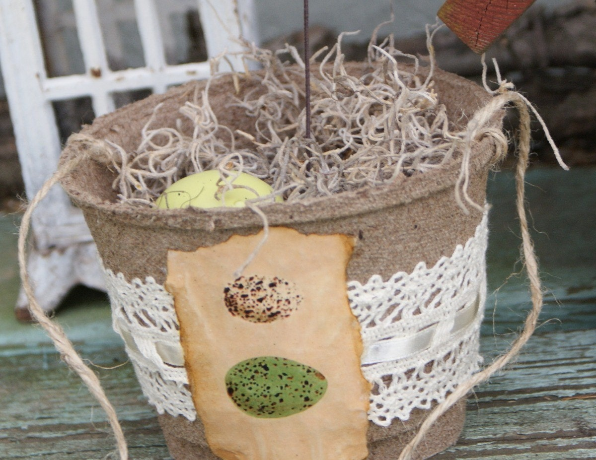 Spring/Summer birds nest peat pot, shabby chic, french market, cottage, rustic