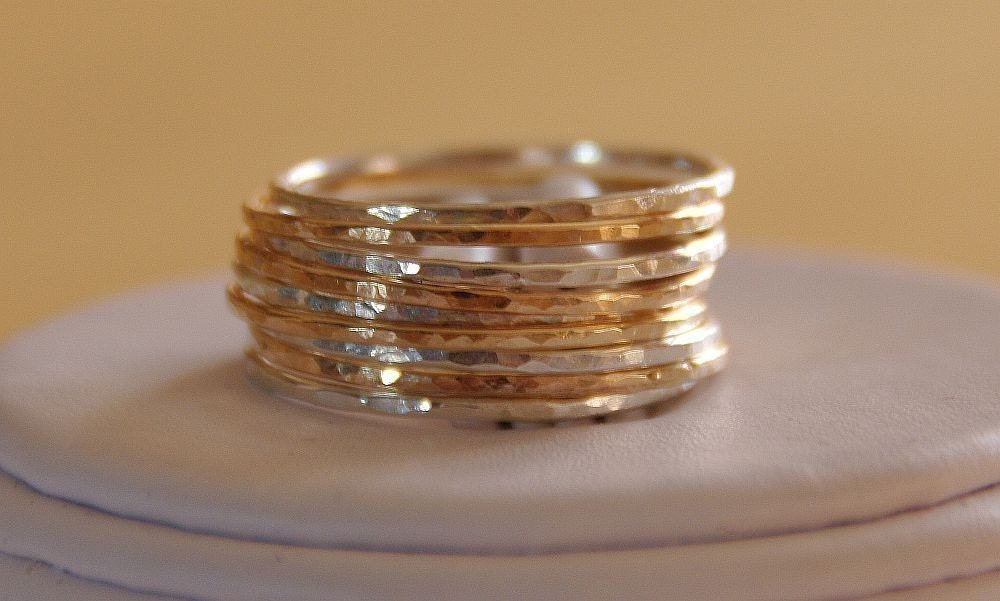 ETSY DEAL SET OF 9 14K GOLD FILLED AND STERLING SILVER STACK/STACKABLE/STACKING RINGS sizes 4,5,6,7,8,9,10,11 mix and matched rustic jewelry
