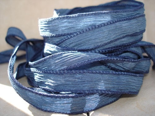 Faded jeans 5 hand dyed silk ribbons