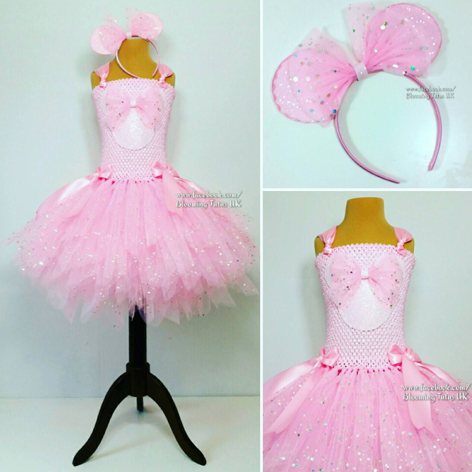 Mouse Super Sparkly Tutu Dress with Sparkly Ears headbandBirthday Party Pageant Fancy Dress Princess