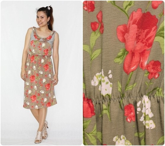 Colorful Floral Brown and Gray Dress  - Promotion 50% Off shipping