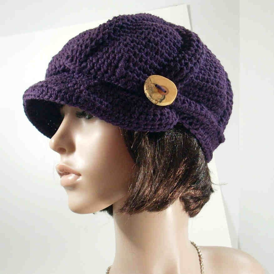 Crochet Ribbed Aubergine Wool Newsboy Hat by theoldhooker on Etsy