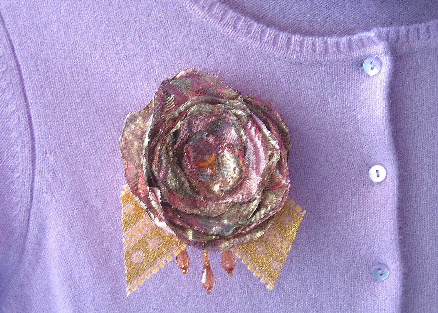Shimmering Fabric Flower Brooch Pink Gold with Gold Mesh