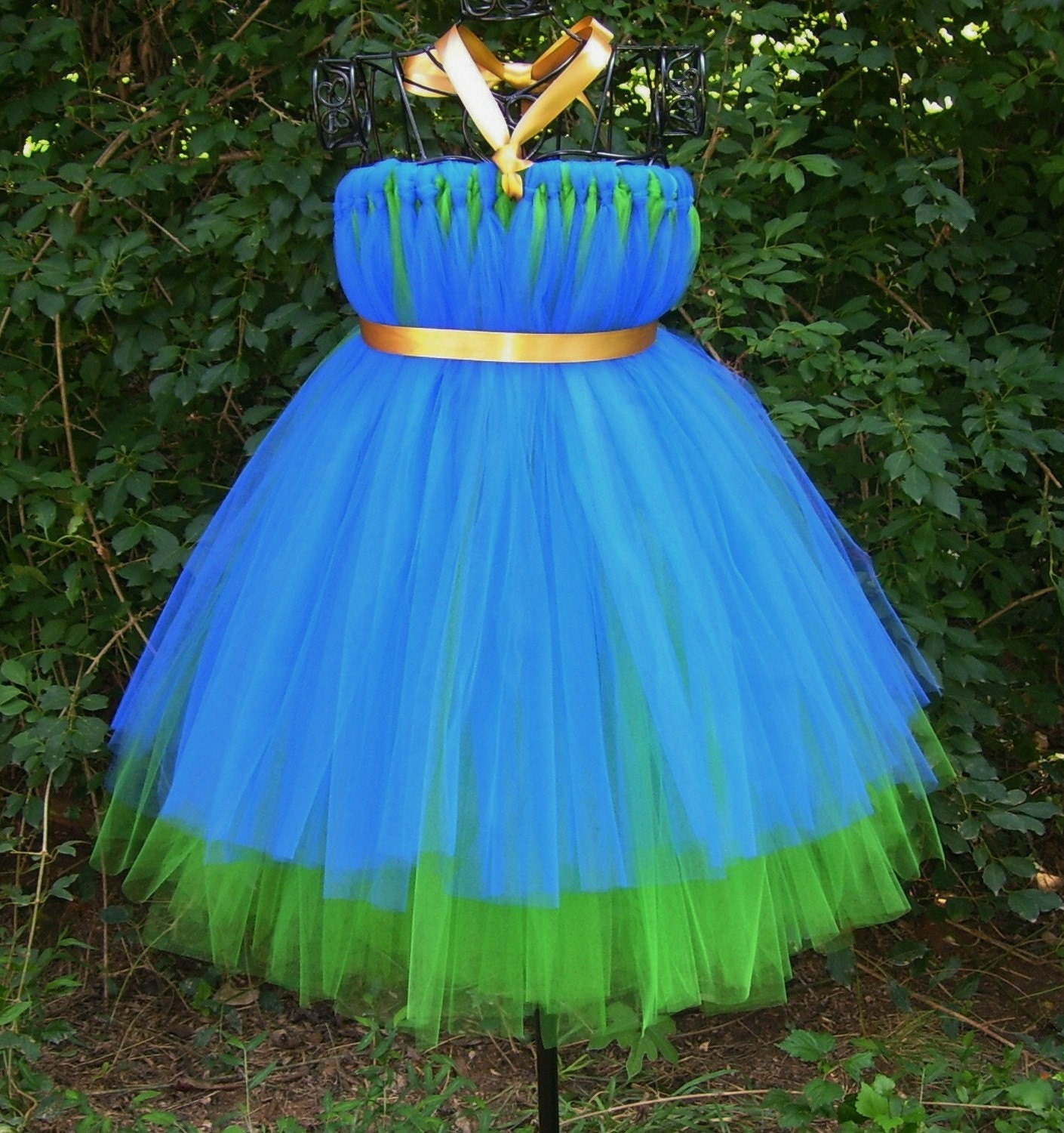 Custom Peacock Tutu Flower Girl Dress with Jewel by