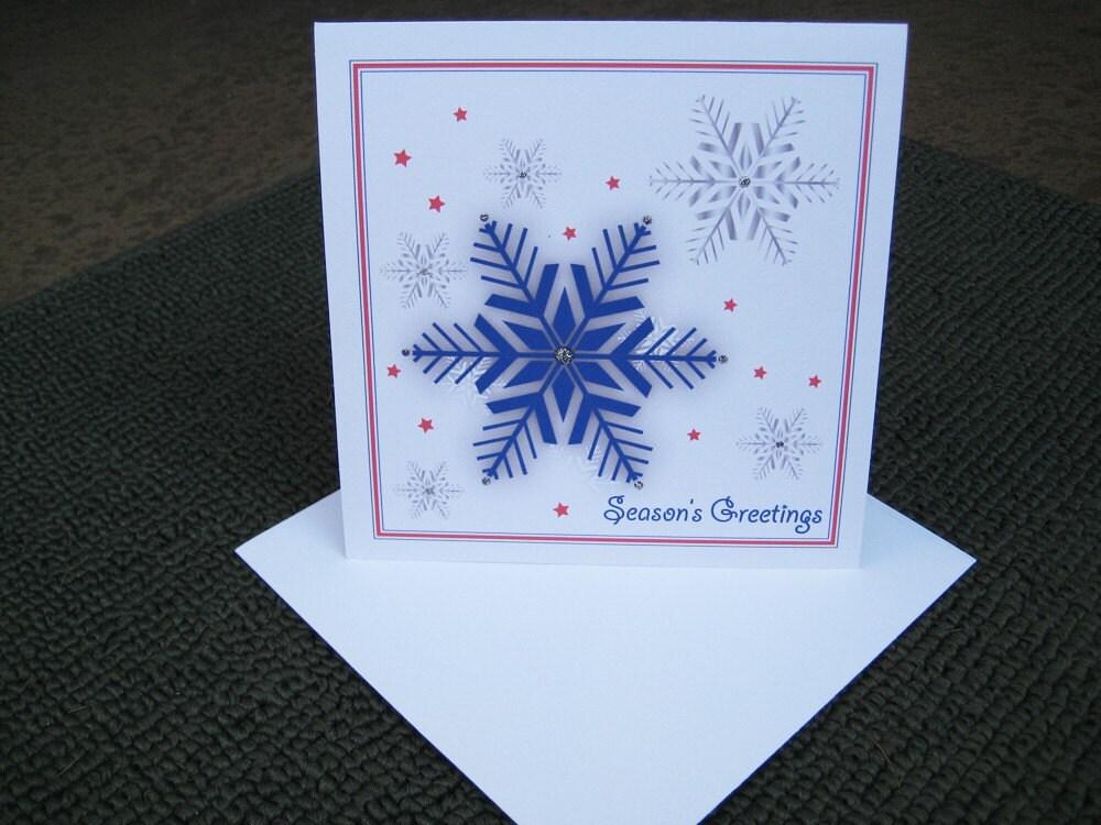 Patriotic Snowflakes Holiday Card