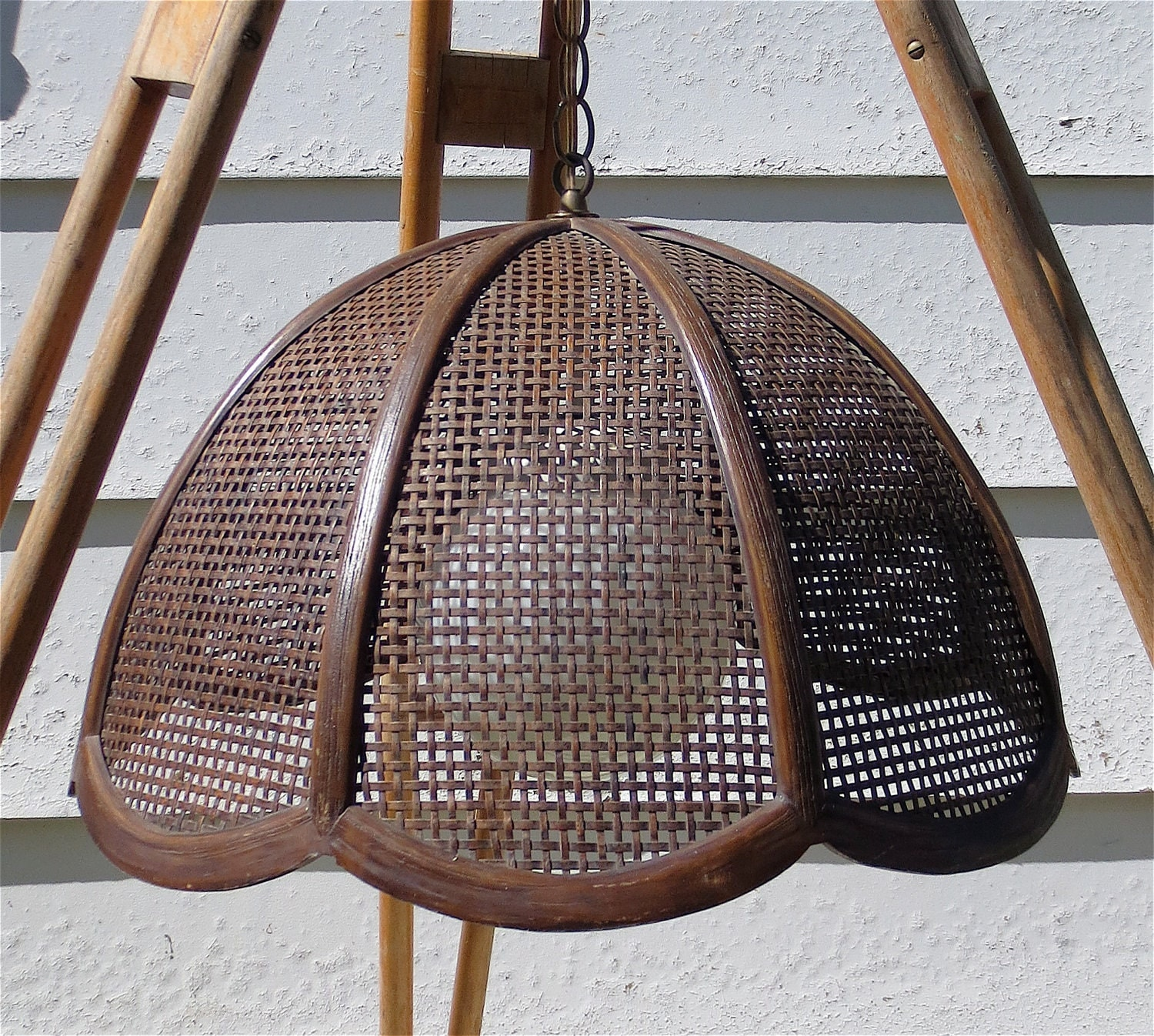 Vintage 1960 S 1970 S Brown Wicker Swag Lamp By Delilahsdeluxe