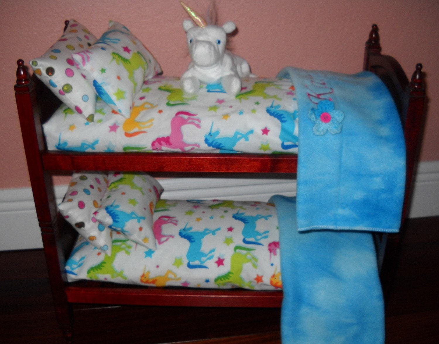 Personalized Unicorn Theme Bunk Bed Bedding By