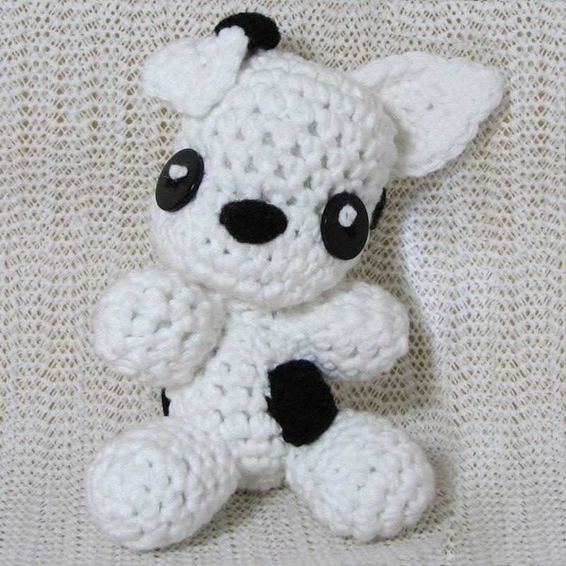 Handmade Amigurumi Chibi Black and                                 White Pitbull Puppy