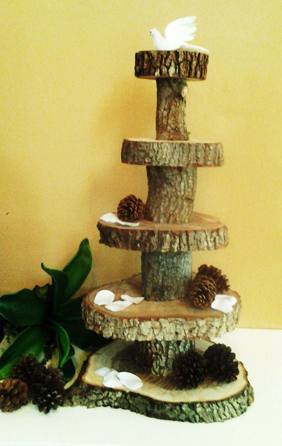 items similar to 5 tier rustic wedding oak tree trunk. Black Bedroom Furniture Sets. Home Design Ideas