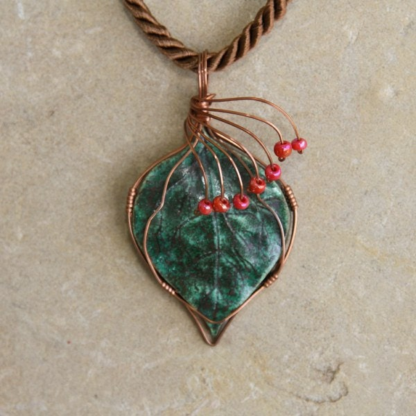 Hand Sculptured Leaf Necklace, Pendant Wrapped in Copper