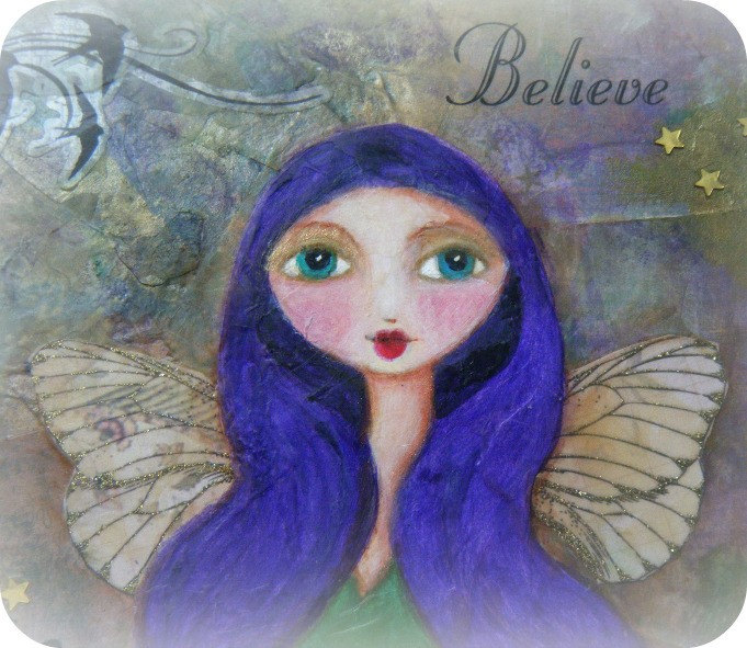 Believe - Original Mixed Media Faerie Art on Wood Plaque