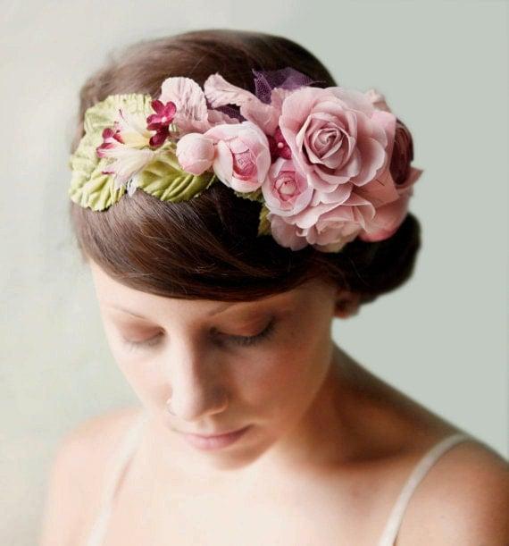 flower hair crown 'PLUM' wedding accessory, bridal head piece