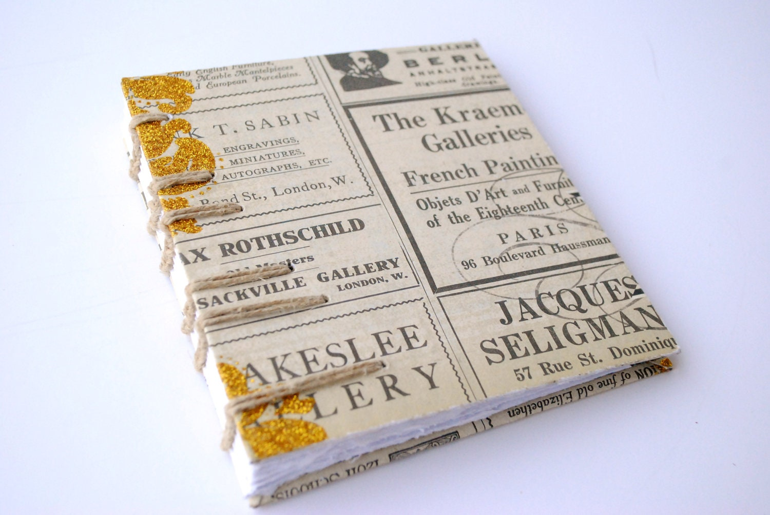 Journal: Vintage Newspaper with Gold