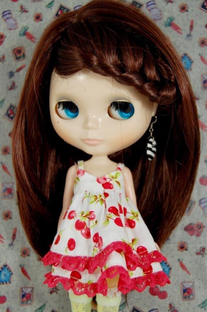 Blythe Hair Wig - Brown Braided Long Straight Hair