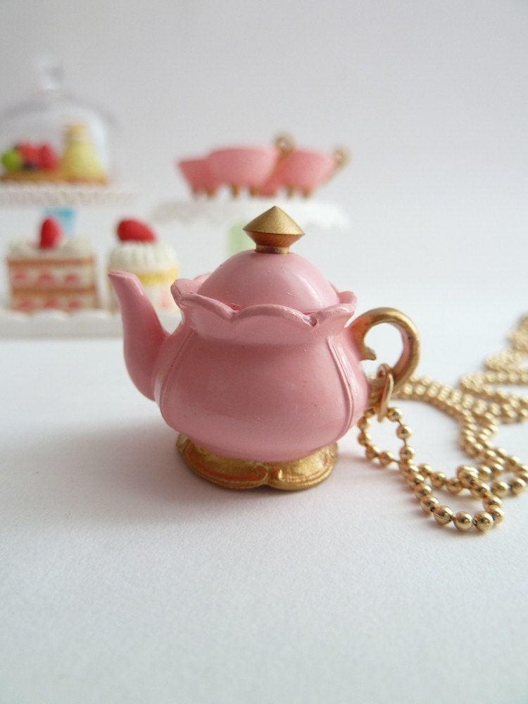 Antique Teapot  necklace Pendant alice in wonderland miniature Charm  gold ball chain necklace pink tea pot unique gifts birthday girls  -time for tea party